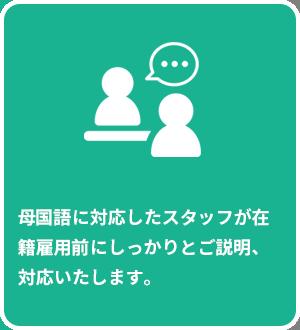 母国語に対応したスタッフが在籍雇用前にしっかりとご説明、対応いたします。